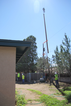 Pole replacement in a customer's backyard